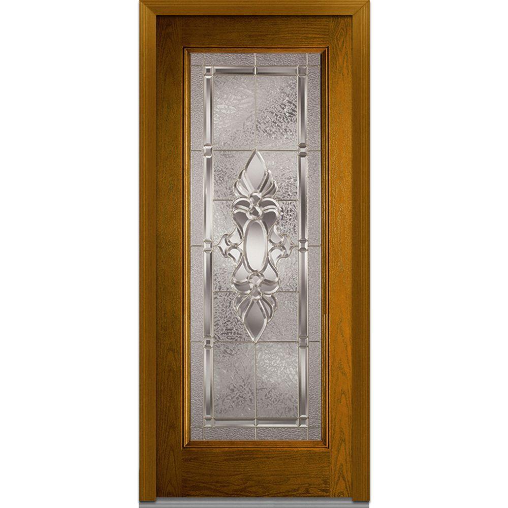 Milliken Millwork 32 in. x 80 in. Heirloom Master Decorative Glass Full Lite Finished Oak Fiberglass Prehung Front Door