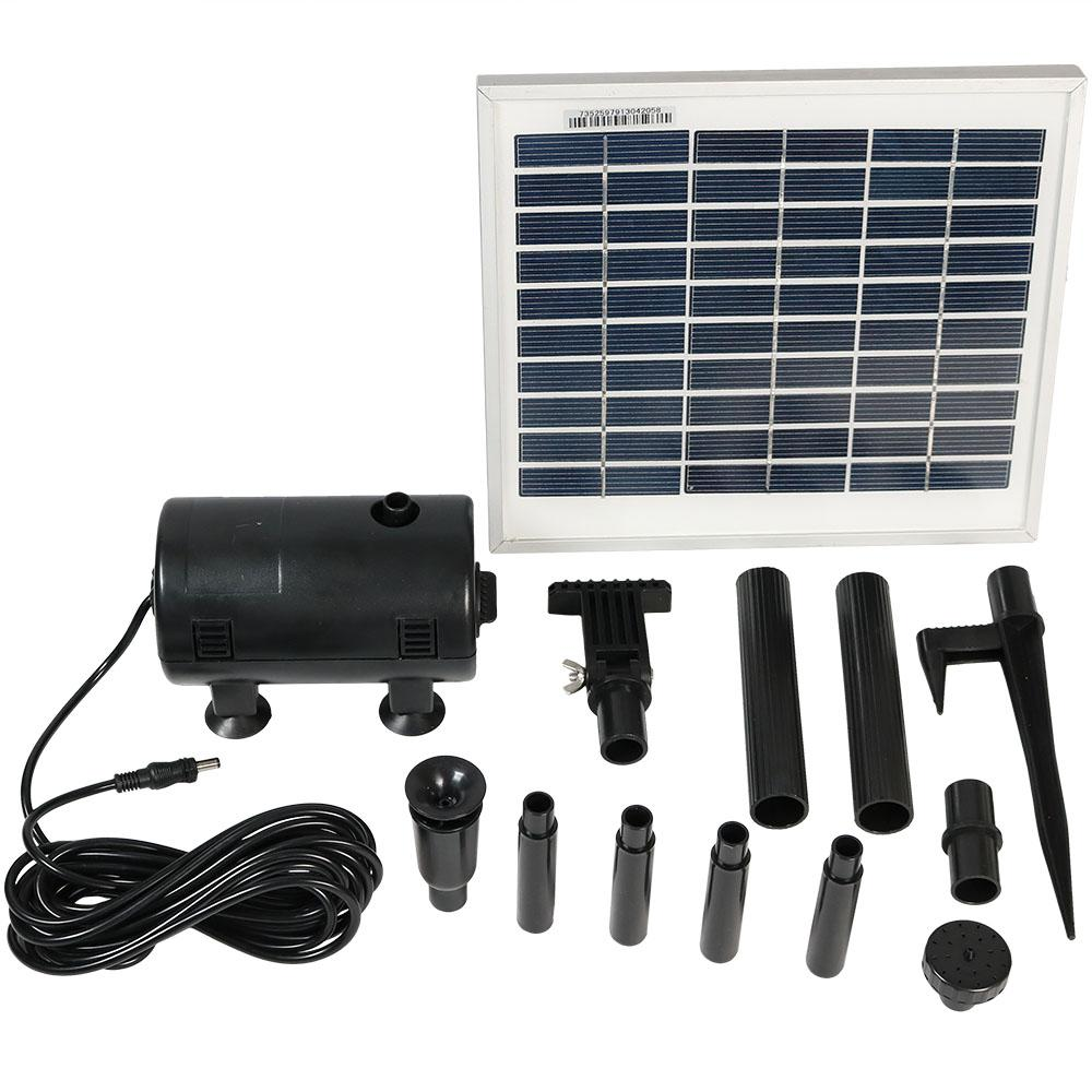 Sunnydaze Decor 132 GPH Solar Pump and Panel Kit with Battery Pack and LED  Light
