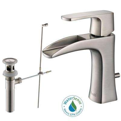Carrion Single Hole Single-Handle Lead Free Solid Brass Bathroom Faucet in Brushed Nickel with Drain kit