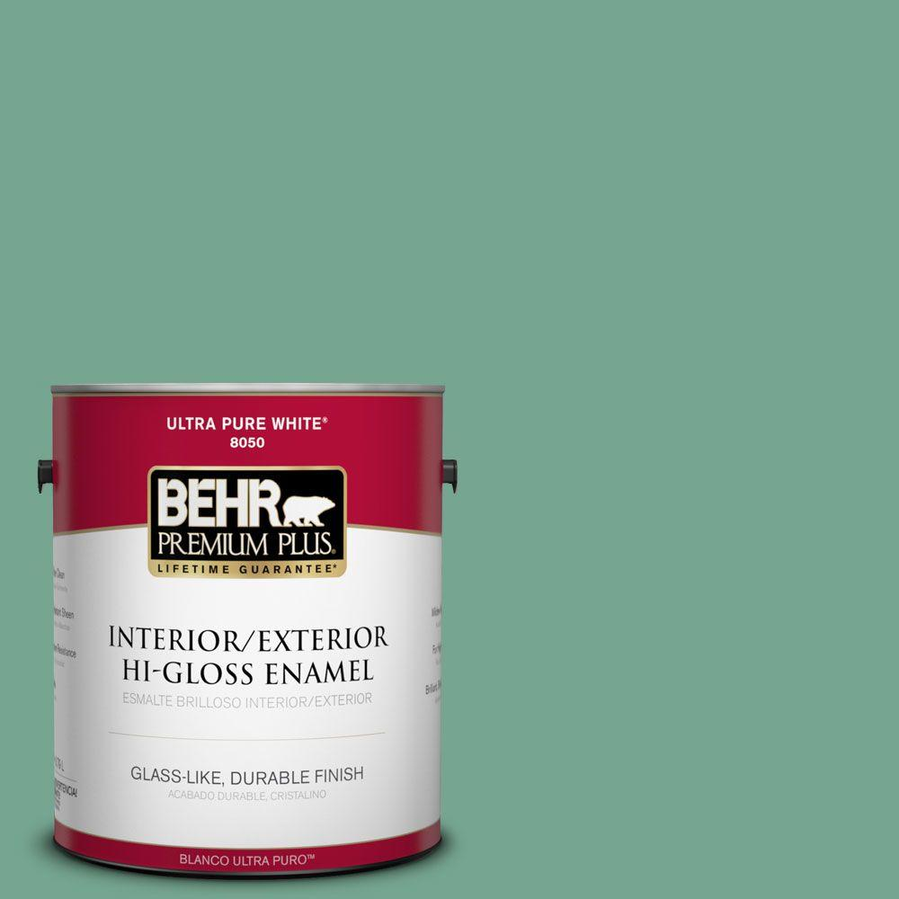 BEHR Premium Plus 1-gal. #M420-5 Free Green Hi-Gloss Enamel Interior/Exterior Paint