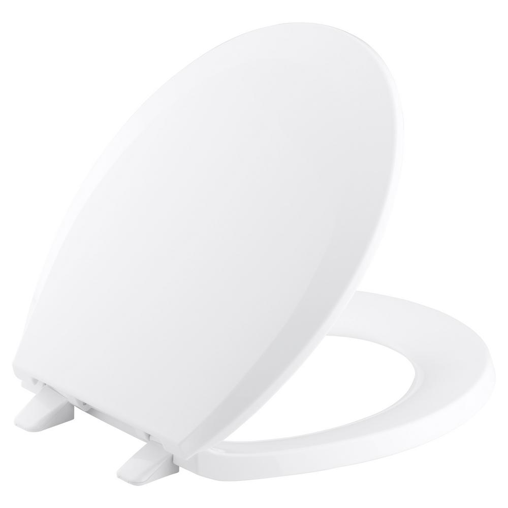 KOHLER Lustra Round Closed-Front Toilet Seat with Quick-Release Hinges in White