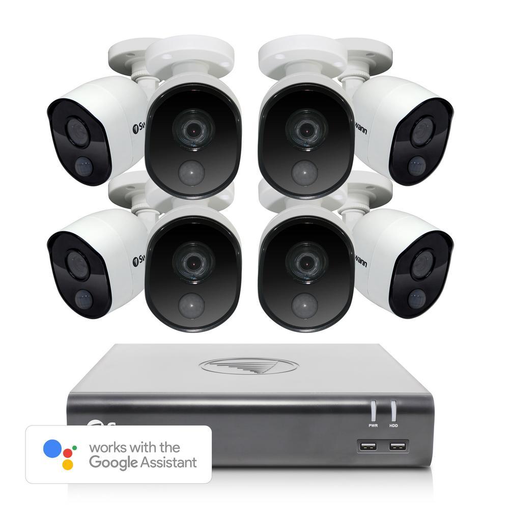 Swann 8-Channel 1080p 1TB DVR Surveillance System with 8 PIR Wired Bullet Cameras
