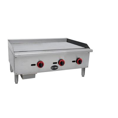 36 in. Commercial Griddle Gas Cooktop in Stainless Steel with 3 Burners