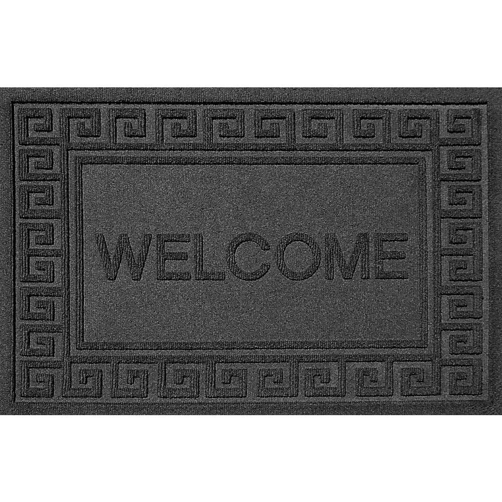 Greek Welcome Charcoal 24 in. x 36 in. Polypropylene Door Mat