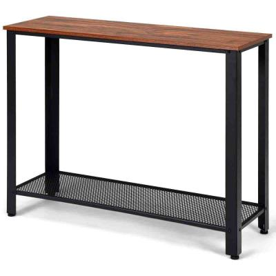 31 in. Black with Storage Shelf Console Side Table Metal Frame Entryway Table