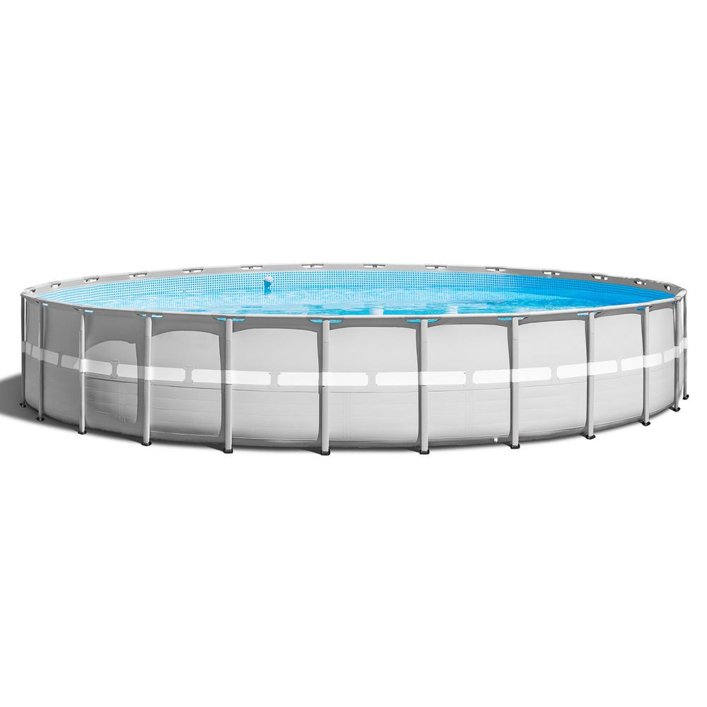Intex 26 ft. x 52 in. Ultra Frame Above Ground Swimming Pool Set with Pump  and Ladder