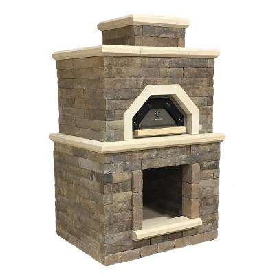 Avondale 54.5 in. x 44 in. x 94.5 in. Sienna Concrete Outdoor Wood Fired Pizza Oven