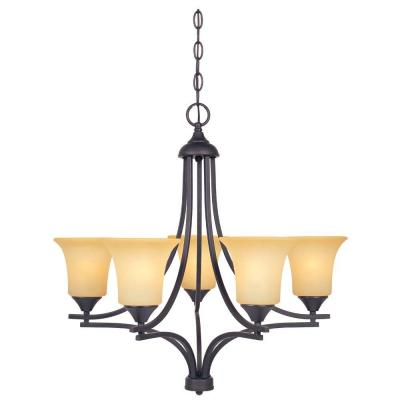 Seville 5-Light Oil Rubbed Bronze Chandelier with Satin Bisque Glass Shades