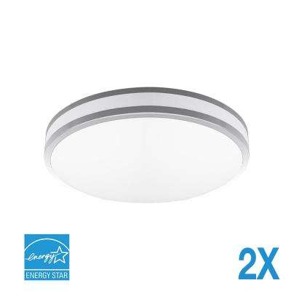 120-Watt Silver Bezel Integrated LED Flush Mount (2-Pack)
