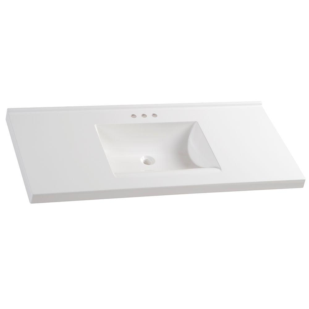 Glacier Bay 49 in. W x 22 in. D Cultured Marble Vanity Top in White with White Sink