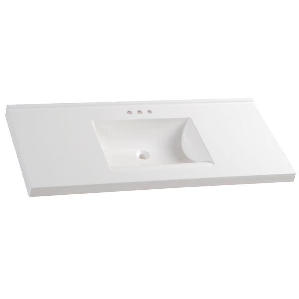 49 in. W x 22 in. D Cultured Marble Vanity Top in White with White Sink