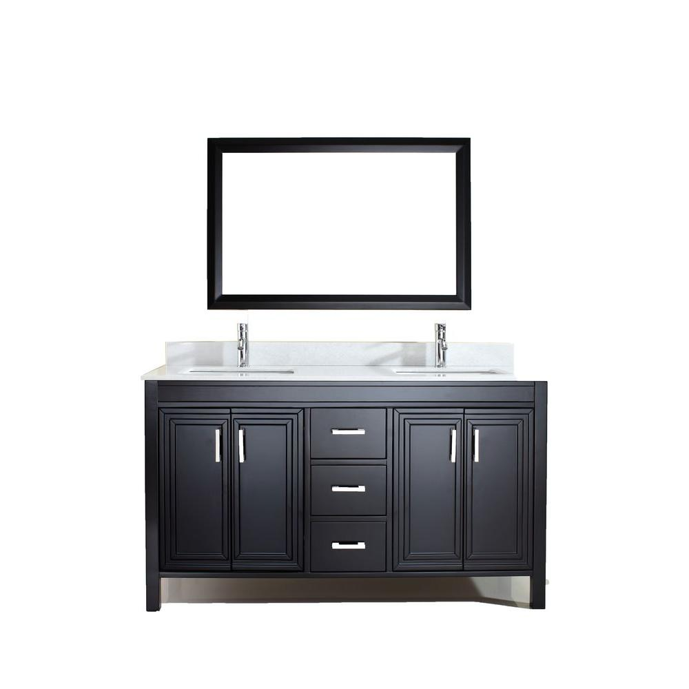 Studio Bathe Dawlish 60 in. W x 22 in. D Vanity in Espresso with Solid Surface Vanity Top in White with White Basin and Mirror