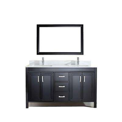 Dawlish 60 in. W x 22 in. D Vanity in Espresso with Solid Surface Vanity Top in White with White Basin and Mirror
