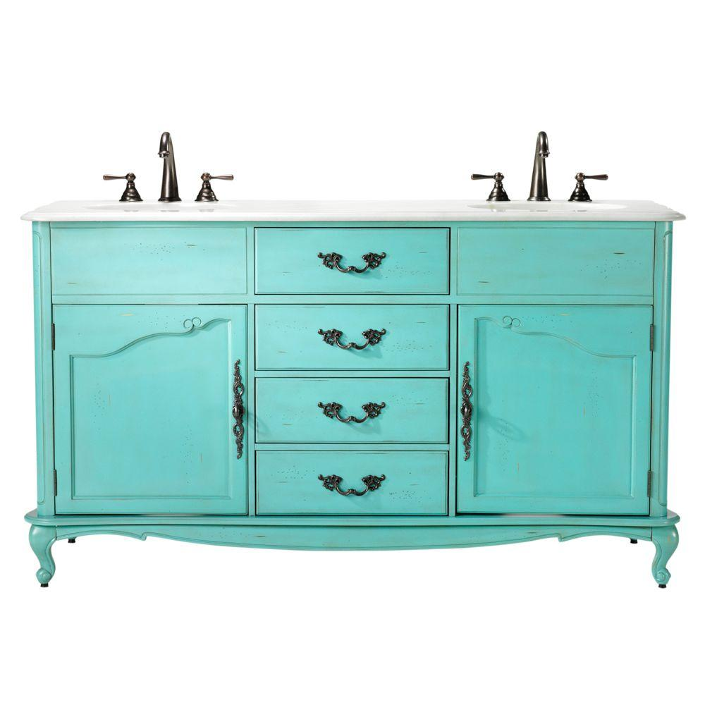 Home Decorators Collection Provence 62 in. W x 22 in. D Double Bath Vanity in Blue with Natural Marble Vanity Top in White