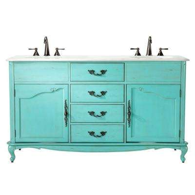 Provence 62 in. W x 22 in. D Double Bath Vanity in Blue with Natural Marble Vanity Top in White