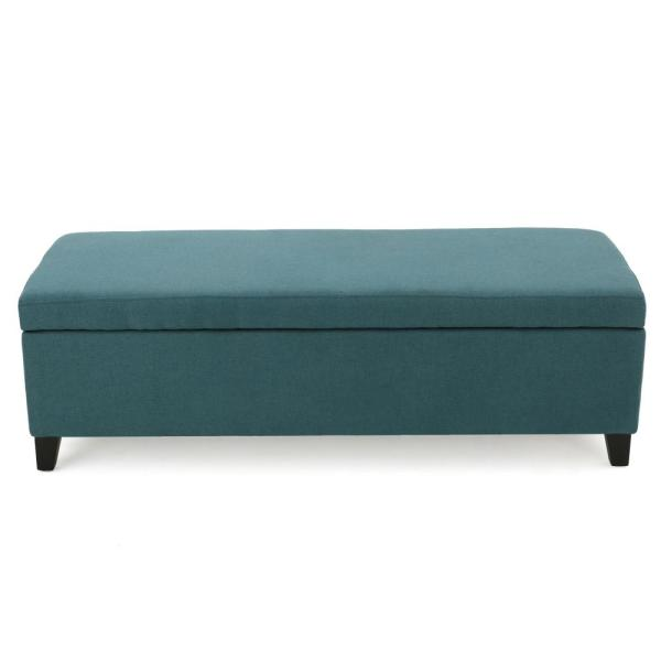 Noble House Gable Dark Teal Fabric Storage Bench 299437