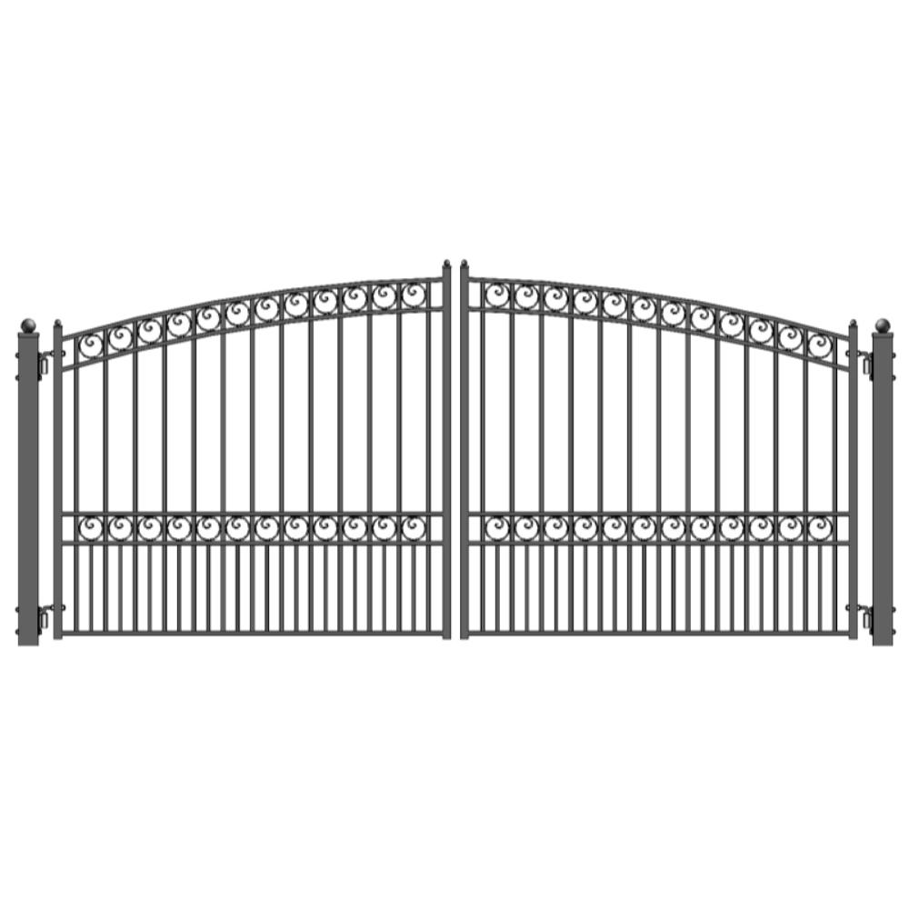 ALEKO Paris Style 14 ft. x 6 ft. Black Steel Dual Driveway Fence Gate