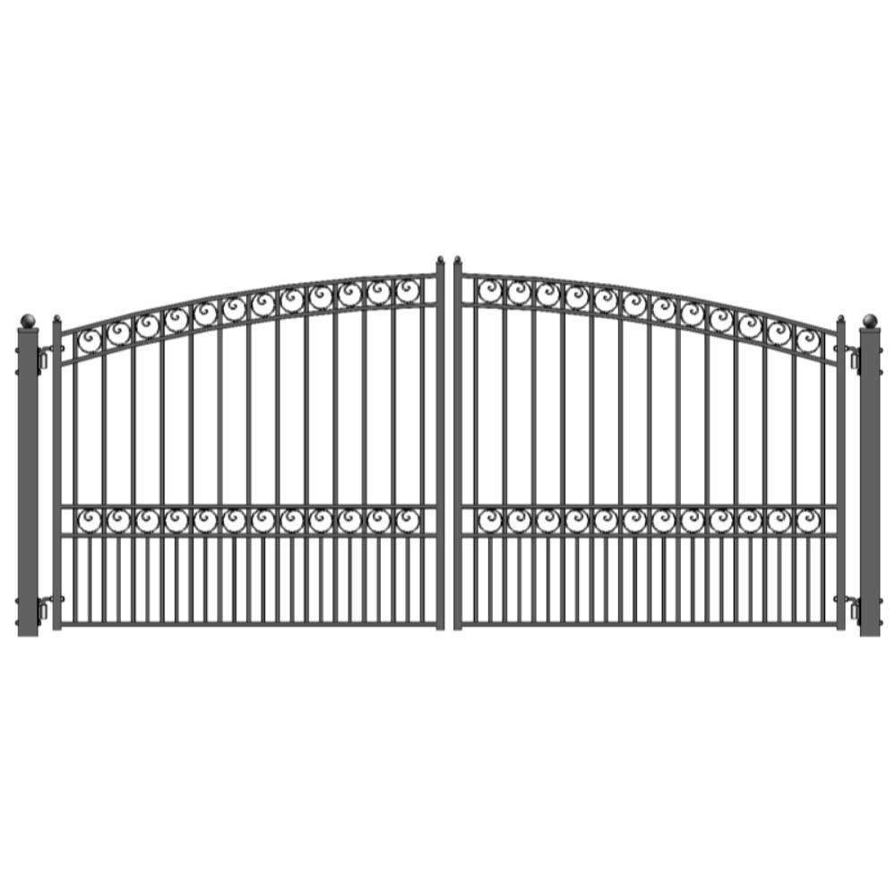 Paris Style 14 ft. x 6 ft. Black Steel Dual Driveway Fence Gate