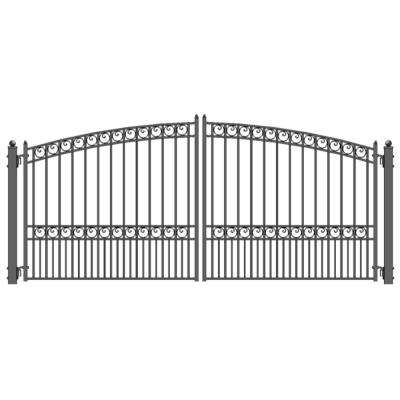 Paris Style 14 ft. x 6 ft. Black Steel Dual Driveway Fence Gate
