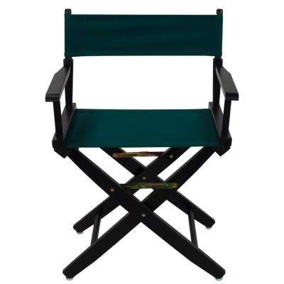 18 in. Extra-Wide Black Wood Frame/Hunter Green Canvas Seat Folding Directors Chair