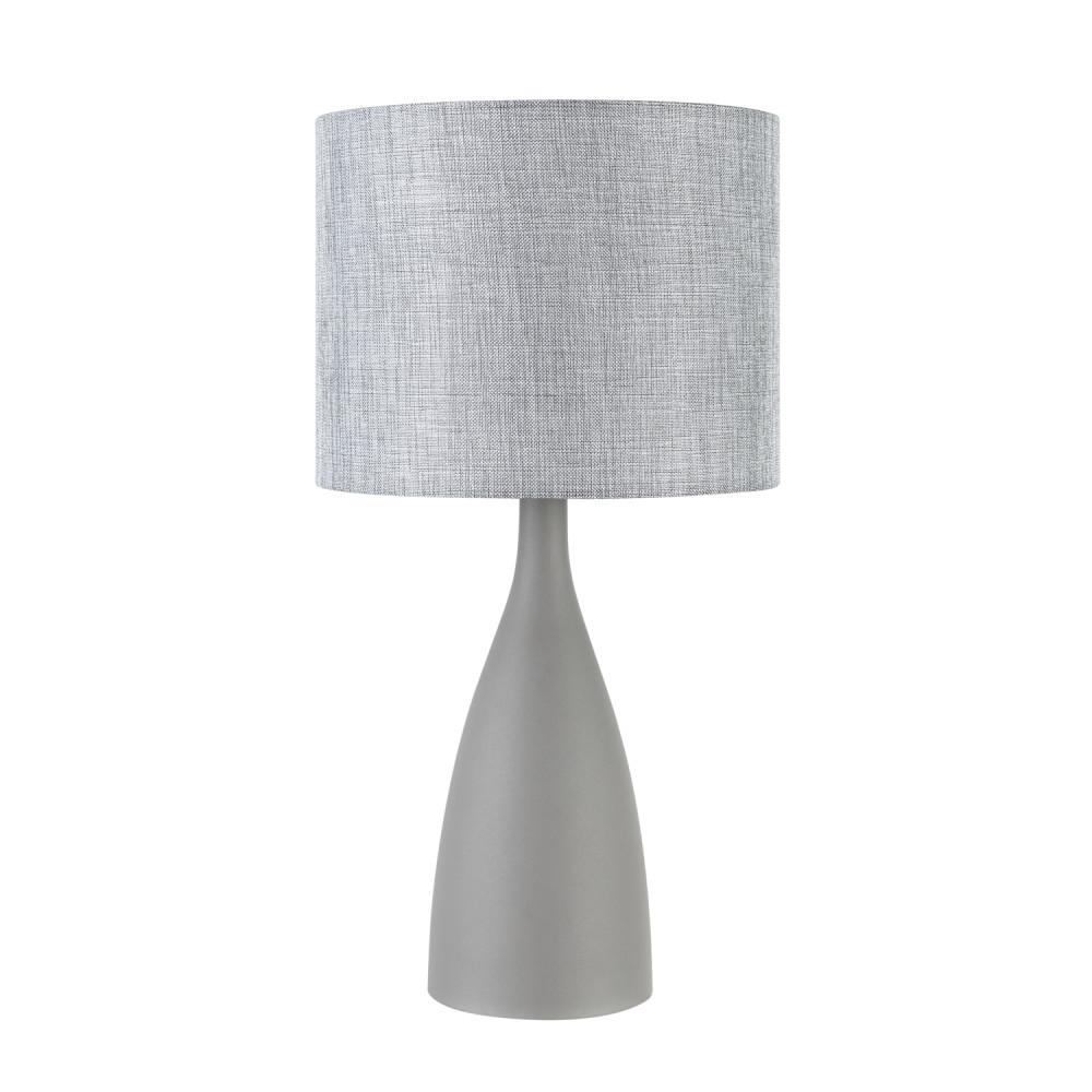 Concrete table lamp with gray linen shade