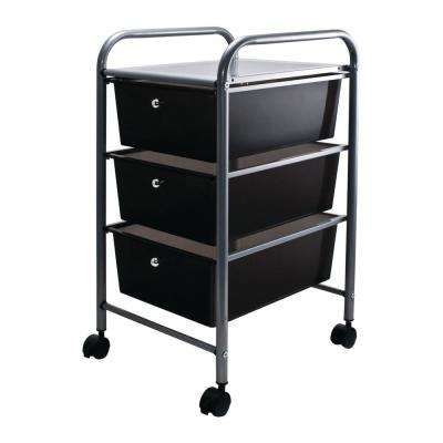 3-Drawer Metal File Organizer Cart in Black