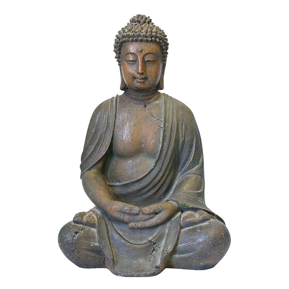 alpine 16 in buddha statue gem170 the home depot. Black Bedroom Furniture Sets. Home Design Ideas