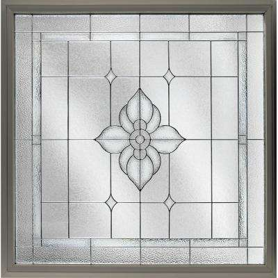 47.5 in. x 47.5 in. Decorative Glass Fixed Vinyl Glass Block Window in Driftwood