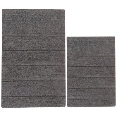 Foldable Griffin Gray 32 in. x 20 in. Cotton Bath Rug (Set of 2)