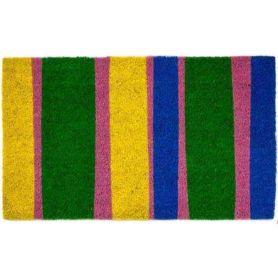 Bands of Color 17 in. x 28 in. Non-Slip Coir Door Mat