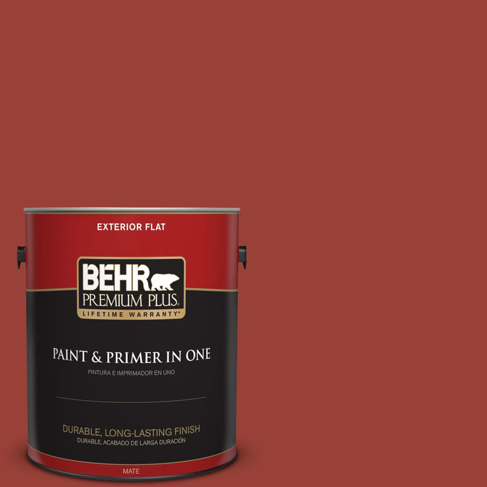 Behr Premium Plus 1 Gal S H 190 Antique Red Flat Exterior Paint And