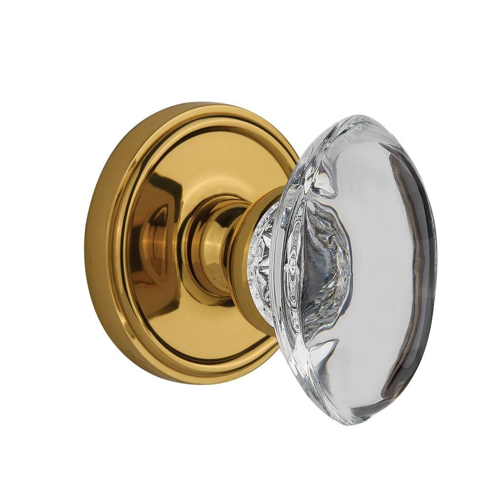 Nostalgic Warehouse Georgetown Polished Brass Passage with Provence Crystal Knob