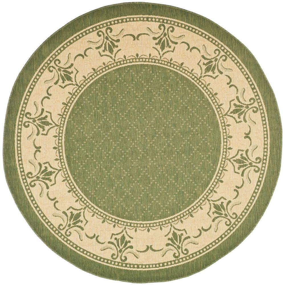 Safavieh Courtyard Olive/Natural 6 ft. 7 in. x 6 ft. 7 in. Indoor/Outdoor Round Area Rug