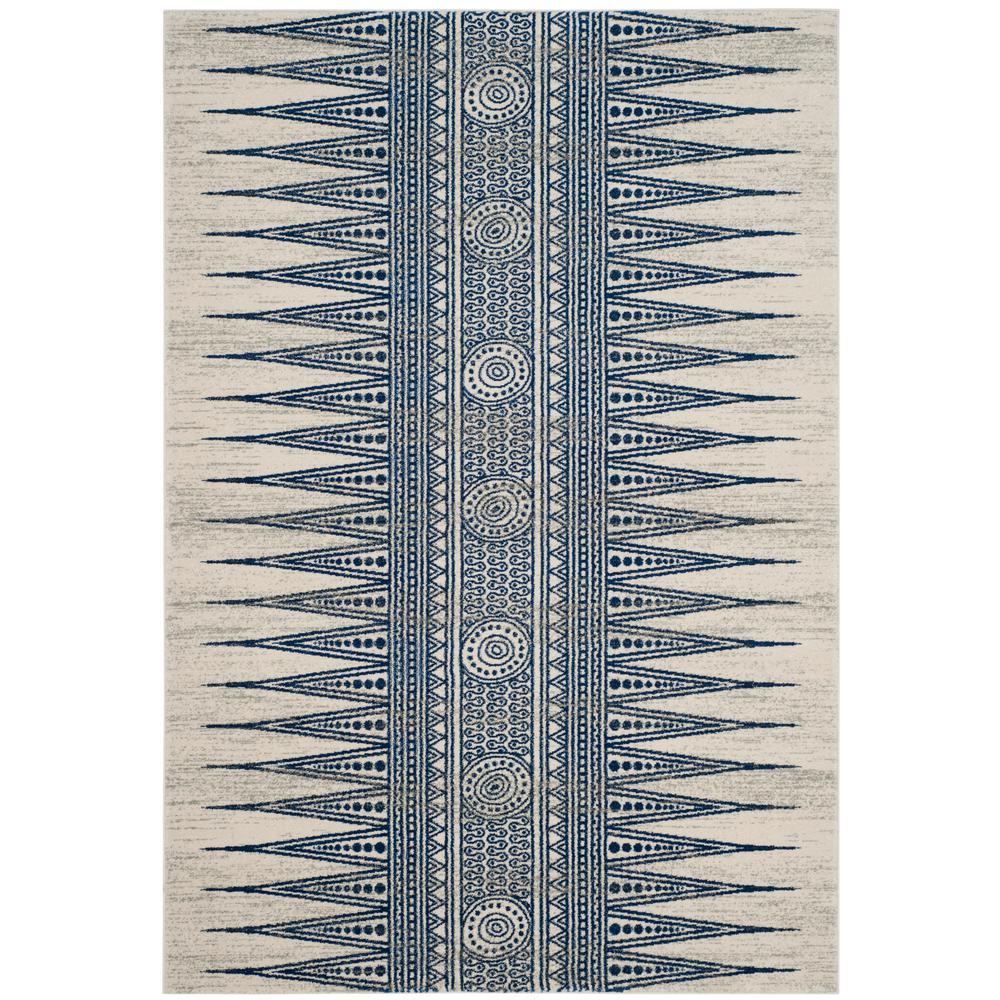 Evoke Ivory/Blue 6 ft. 7 in. x 9 ft. Area Rug