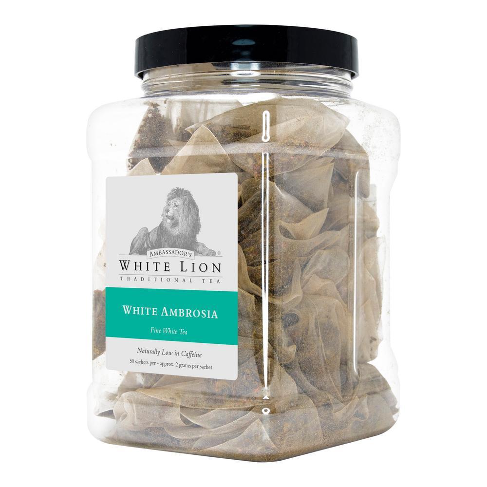 Tea White Ambrosia 50 Bulk Sachet Food Service Canister Tea Bags Sachets (50 per Pack)
