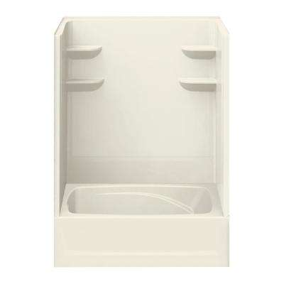 43 in. x 60 in. x 79 in. Bath and Shower Kit Left-Hand Drain in Biscuit