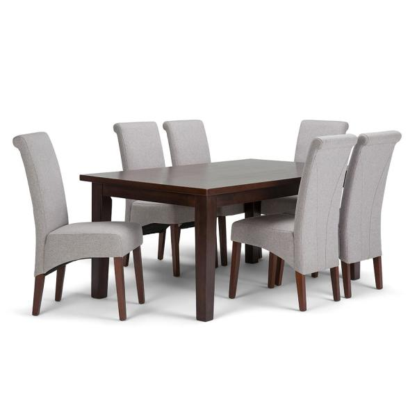 Simpli Home Avalon 7-Piece Dining Set With 6 Upholstered