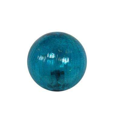 Small Blue Crackled Glass Ball with LED Lights