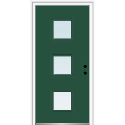 32 in. x 80 in. Aveline Left-Hand Inswing 3-Lite Clear Low-E Glass Painted Steel Prehung Front Door on 6-9/16 in. Frame