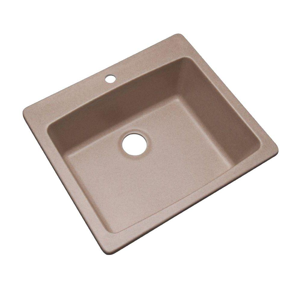 Mont Blanc Northbrook Drop-In Composite Granite 25 in. 1-Hole Single Bowl Kitchen Sink in Desert Sand