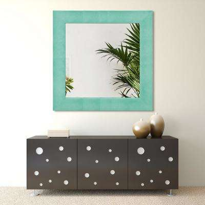48 in. x 48 in. Teal Metallic Shagreen Leather Framed Beveled Mirror