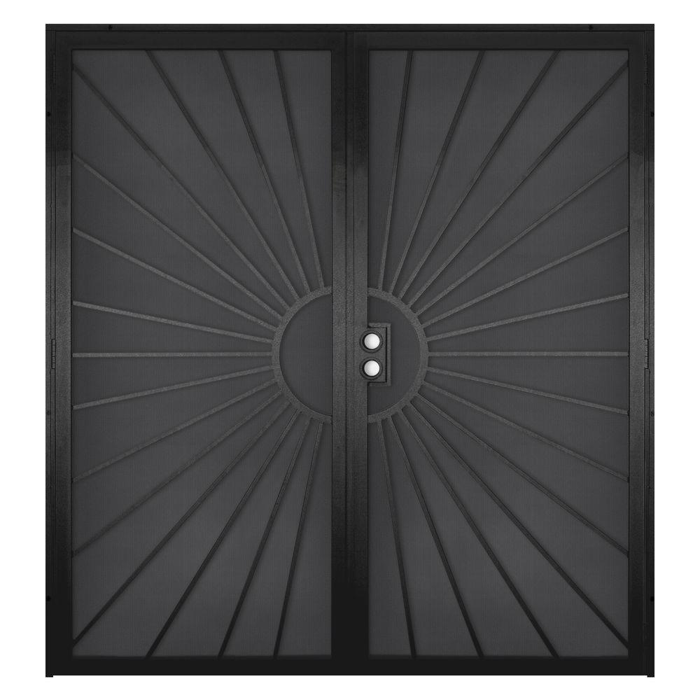 Unique Home Designs 72 in. x 80 in. Solana Black Surface Mount Outswing Steel Security Double Door with Perforated Metal Screen