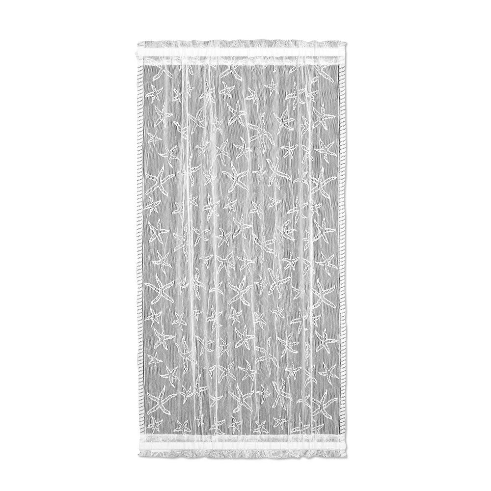 Semi-Opaque Starfish 15 in. L Polyester Valance in White