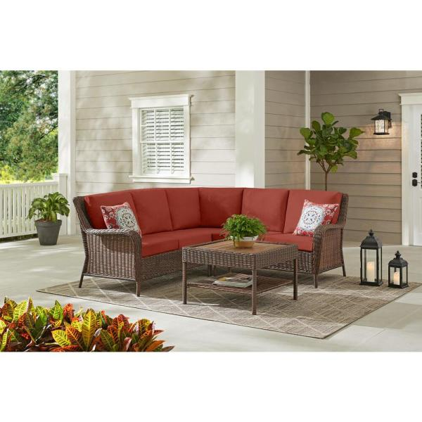 Cambridge 4-Piece Brown Wicker Outdoor Patio Sectional Sofa and Table with Sunbrella Henna Red Cushions