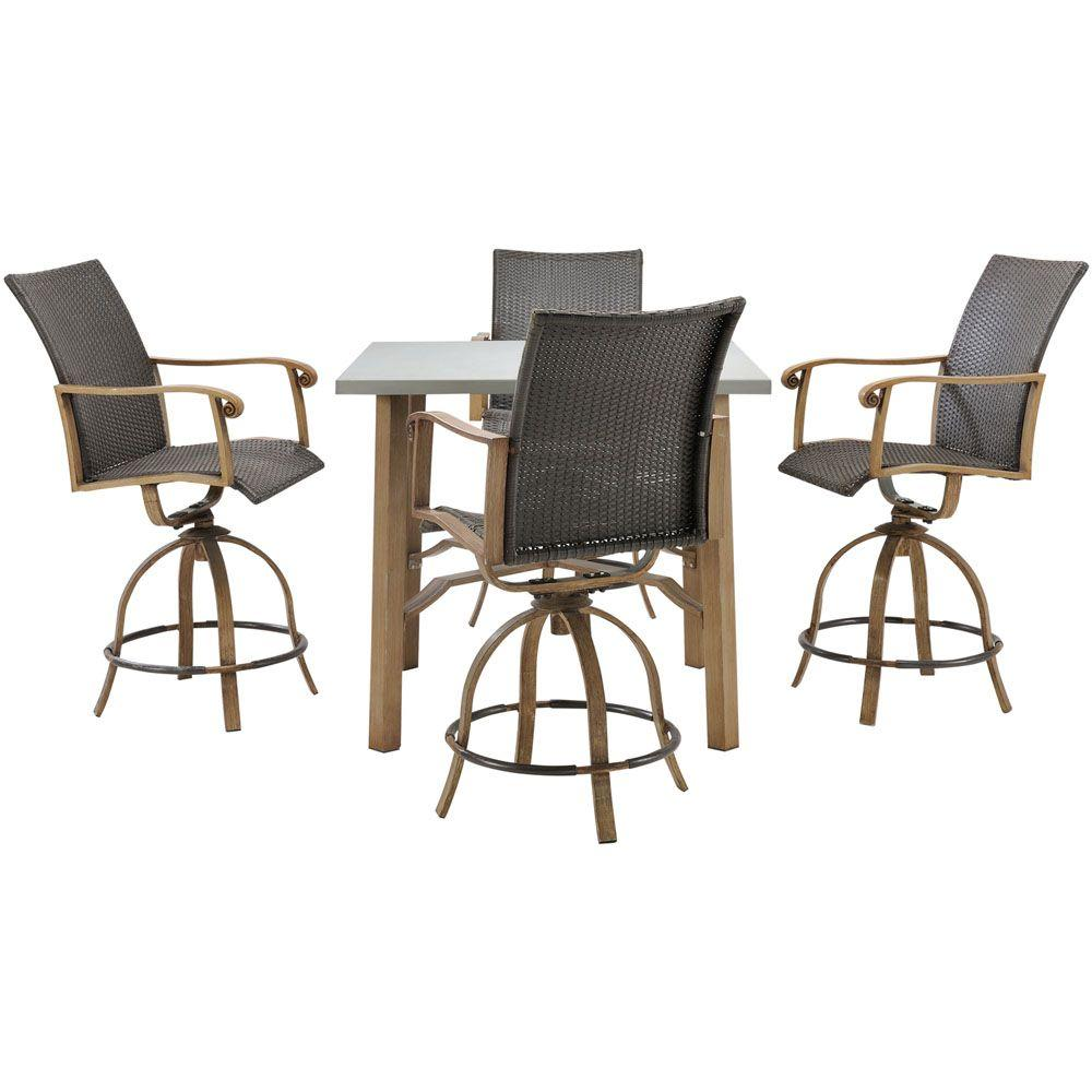 Hanover Hermosa 5 Piece All Weather Wicker Square Patio Bar Height Dining  Set. +3
