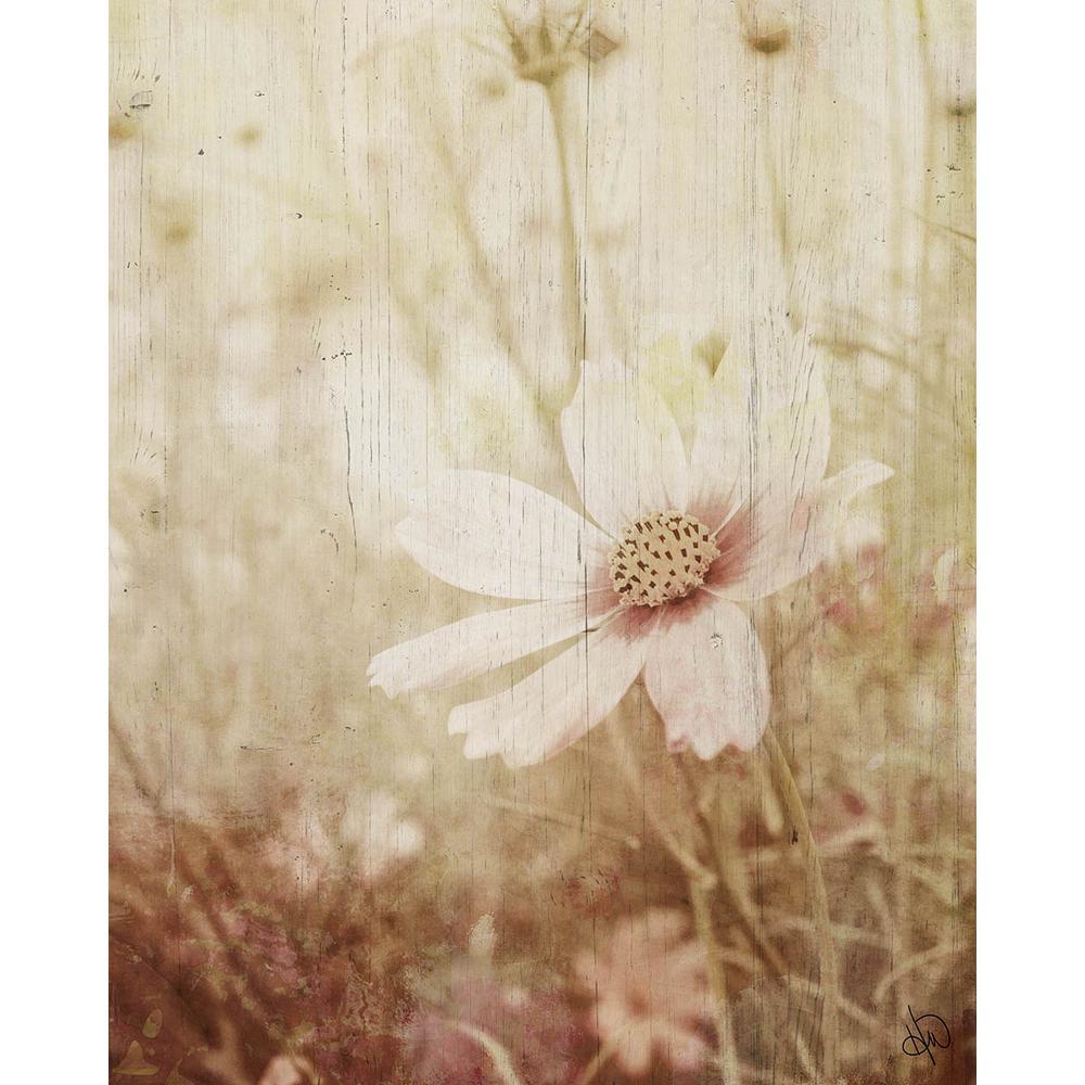 "20 in. x 24 in. ""Field Flower"" Planked Wood Wall Art Print"