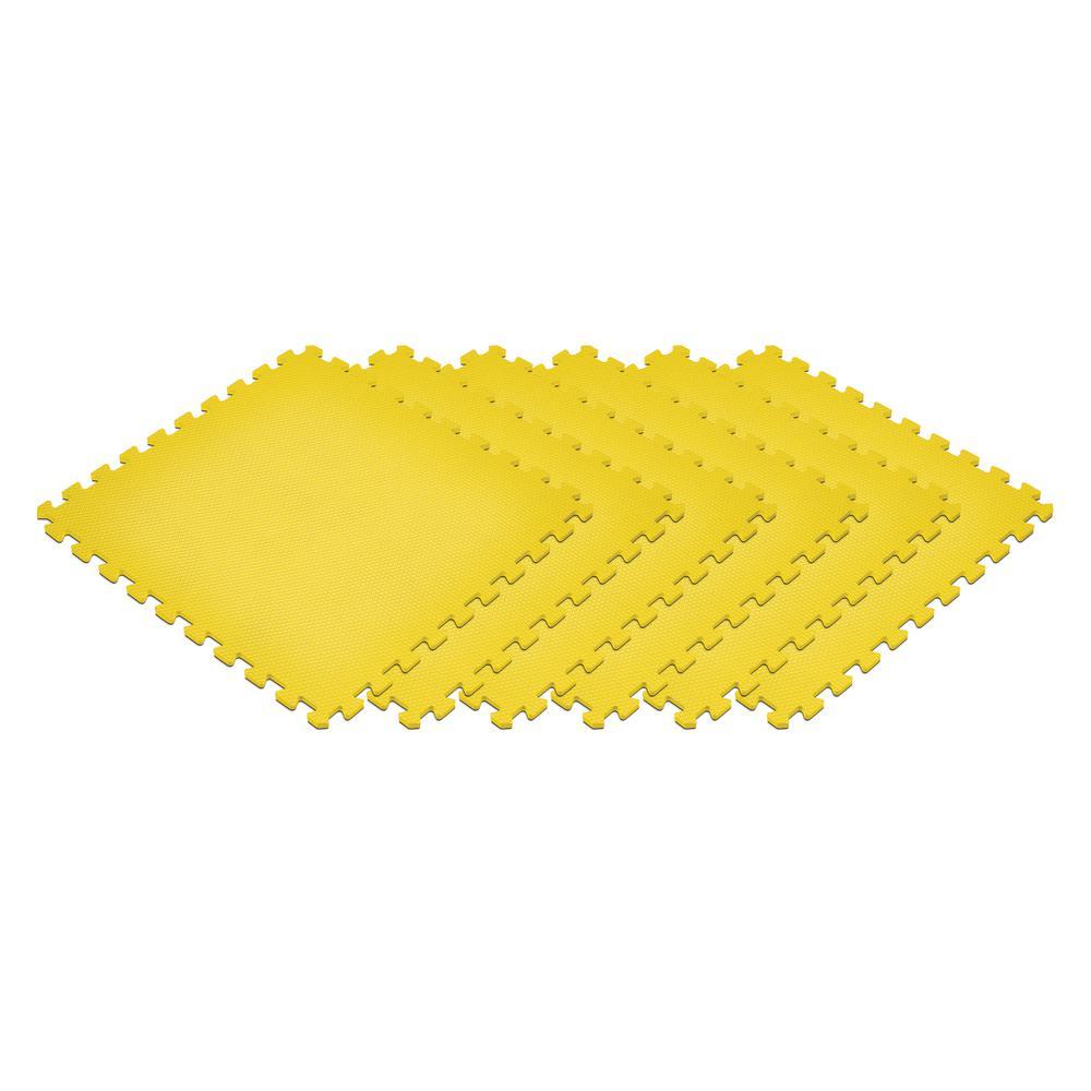 Yellow 24 in. x 24 in. EVA Foam Non-Toxic Solid Color Interlocking Tiles (216 sq. ft. - 54 tiles)