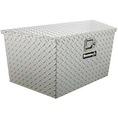 Diamond Tread Aluminum Trailer Tongue Truck Box with Paddle Latch, 18.5 in. x 15 in. x 49/37 in.