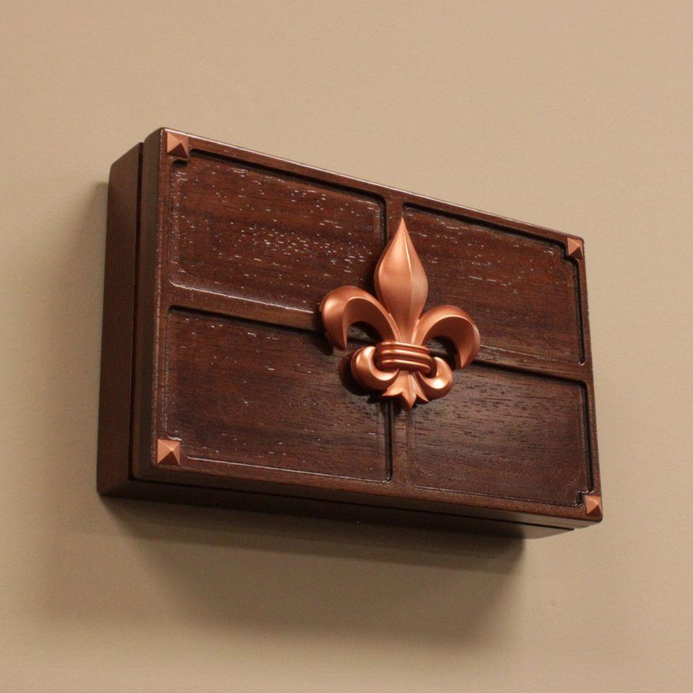 BLACK BRASS Fleur De Lis ARTWORKS Home PUSH BUTTON LIGHTED Doorbell 76383