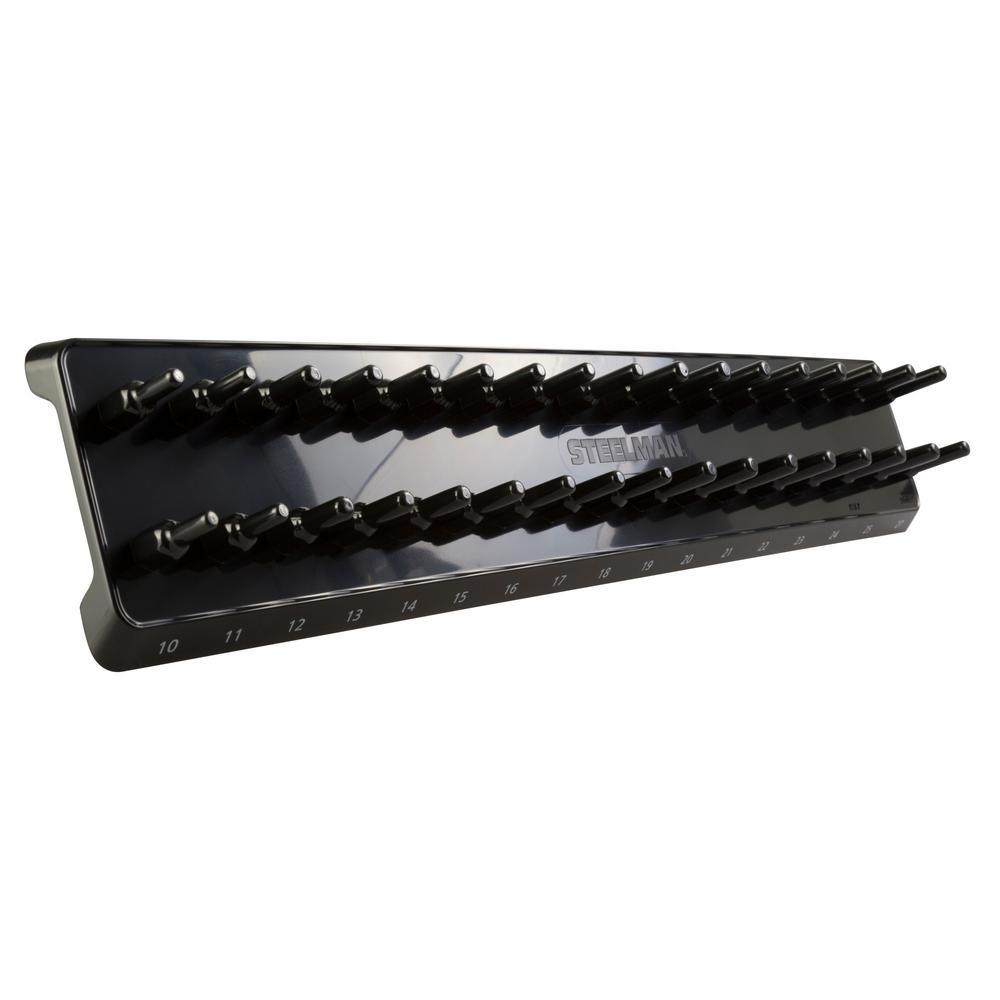 1/2 in. Drive 34-Post Metric Socket Holder / Storage Rail
